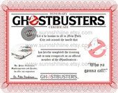 Ghostbusters Certificate (Ghosts, Halloween, Sci-Fi, Paranormal, Party Favor, Gag Gift, Stocking Stuffer)