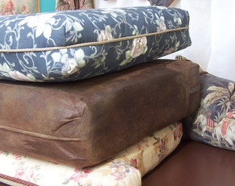Custom CUSHIONS made to measure your choice of fabrics! faux leathers and suedes!