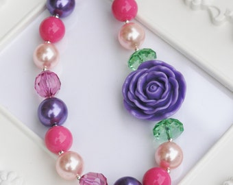 Purple Rose necklace, Purple and pink chunky rose necklace, girls gumball necklace