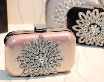 The Great Gatsby Woman Crystal Flower Clutch Handbag