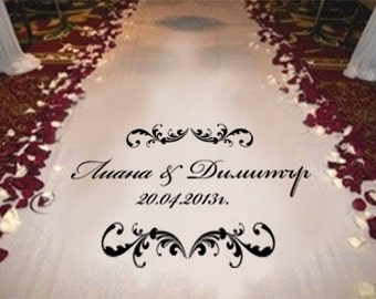 Wedding Runner Aisle Custom Made With Names or Initials or Monogram