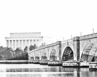 "Washington DC, Art, Black and White Photography, Fine Art Print, Wall Decor, Lincoln Memorial, Color Option - ""Memorial Bridge"""