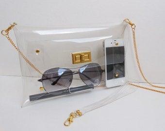 Classic Clutch Bag with Chain Cross Body Strap wrist/ Clear Classic Clutch / Medium Size/ Gold