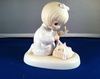 Dawn's Early Light, Precious Moments Figurine, Girl w/candle covering kitten in kitten's bed