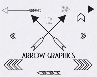 12 Modern Arrow and Chevron Graphics Commercial and Personal Use