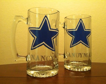 Beer Mug Set, Personalized Mugs, Large 24oz Mugs, NFL, MLB, NCAA