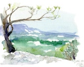 Original Zen sketch of the Provence in Southern France Aqua,blue, green. Alpilles. Grottes de Cales  Landscape Painting. Zen drawing. - Zendrawing