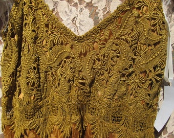 Beautiful Bronze/Copper Silk Dress trimmed with Venice Lace - One of a Kind