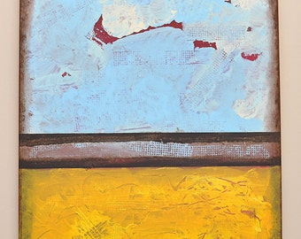 Original Abstract Acrylic Painting Yellow Light Blue Brown Ochre Red White Expressionist 18 x 24