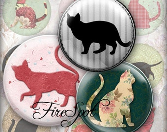 Vintage Flower Cat.Black Cat -Digital Collage Sheet 1.5 inch,1.25 inch,30 mm,1 inch,25 mm Circles Glass Pendants, Bottlecaps,Scrapbooking