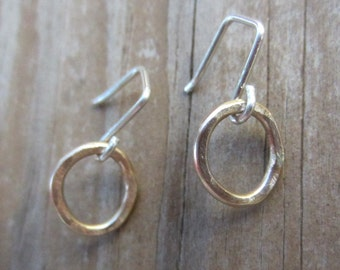 SALE! Small Gold Earrings, Small Gold Hoops, Solid 14k Gold Earrings on Sterling Silver Wires