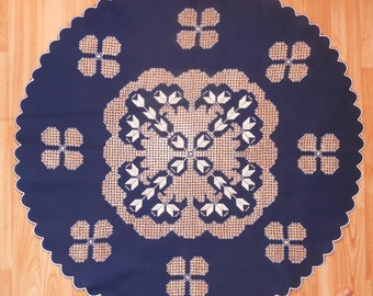 Dark blue white Traditional Transylvanian linen hand embroidery round lace tablecloth READY TO SHIP