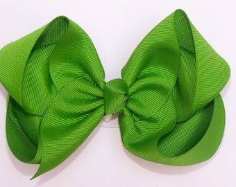 Apple Green Large Boutique Bow Girls Hair Bow Jumbo Hair Bow XLarge Hair Bow in Apple Green Large Hair Bow
