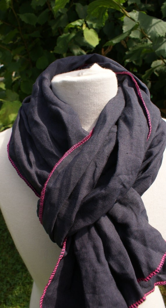 Foulard lin gris / rose fluo