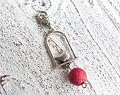 Charm bird #92, red charm, pendant bird, Gift for her,Gift for mum,Bridesmaid,charm necklace,handmade jewelry,karmabeads,lucky charm,Boho