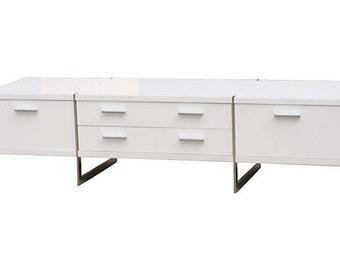 White Modernist Flat Panel TV Stand
