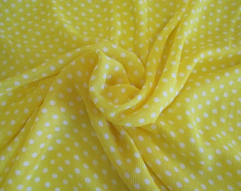 SALE! Yellow Polka Dot Chiffon - By The Yard