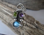 Blue Topaz Pendant, Peridot and Amethyst Pendant, Artisan Handmade Jewelry - SterlingToLove