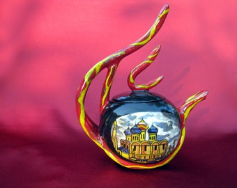 Teapot, with hand painted Russian Cathedral and fire handles and spout, hand made Ceramic