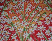 CLEARANCE Cotton fabric, quilting, Painted Summer by In The Beginning  Fabrics, 100% cotton, coral, peach, orange, green, white flower