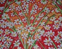 Cotton fabric, quilting, Painted Summer by In The Beginning Fabrics, 100% cotton, coral, peach, orange, green, white flower