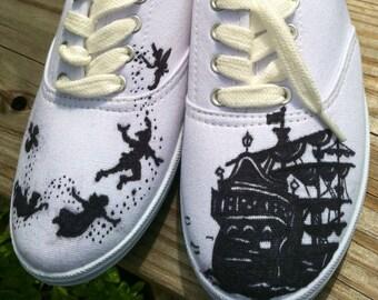 Disney's Peter Pan Custom hand painted acrylic vans style womens shoes