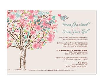 Rustic Tree with Love Birds Wedding Invitation DIY PRINTABLE Digital File or Print (extra)