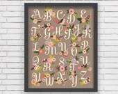 Home Decor Nursery Wall Art - Floral Alphabet Print (warm gray) - 16x20