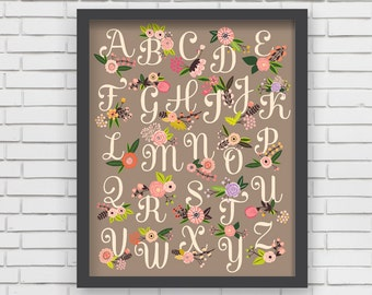 Home Decor Nursery Wall Art - Floral Alphabet Print (warm gray) - 16x20