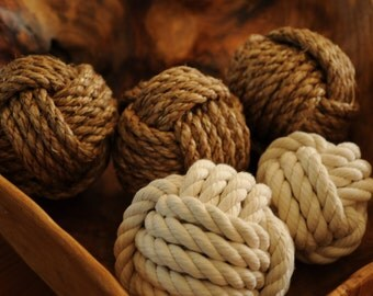 5 Monkey's Fist Knots - Nautical Decor - Knots in a Bowl - Nautical Gift
