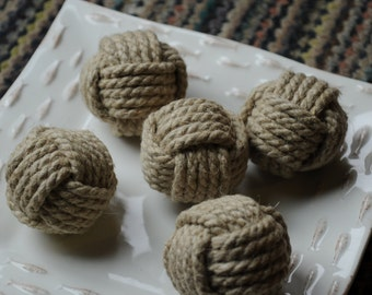 Nautical Decor - 5 Hemp Rope Knots