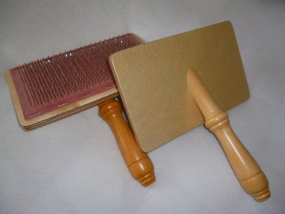 Pair Of Hand Carders For Carding Wool And Fibre By