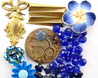 Steampunk Watch Part, Blue Fimo Flower, Brass, Glass, Enchanted Flower Garden Bead Set 16947