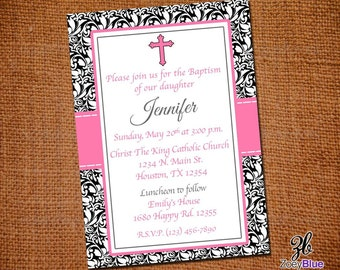 Baby Girl Baptism Invitation First Communion Christening Invite ...