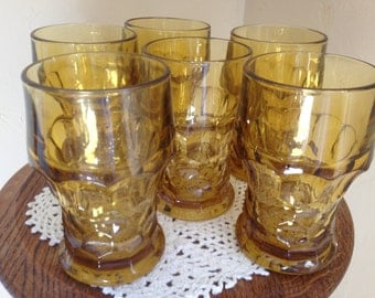 "Pretty Set of (6) Amber  ""Georgian"" pattern drinking glasses- 5"" tall"