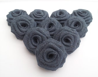Navy Blue Burlap Flowers, Navy Blue Burlap Roses, Blue Bburlap Flowers, Navy Burlap - Rustic Outdoor Vintage wedding decor
