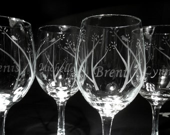 Wedding glasses. Personalized etched wine glasses, bridal party, bridesmaids gift. Set of 4.