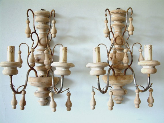 French Wooden Wall Lights : French vintage beech wood wall sconces with turned by Chanteduc