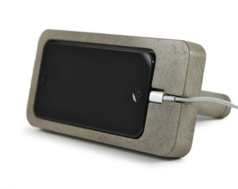 Concrete iPhone 5 Dock. iPhone Docking Station. Concrete Docking Station.