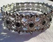 Big 3-Hole Beads, Black Crystal Large Stretch Bracelet