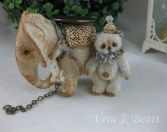 "SOLD 1.3/4"" Miniature Artist Bear with with  Elephant friend Handmade by Vera J.Bears"
