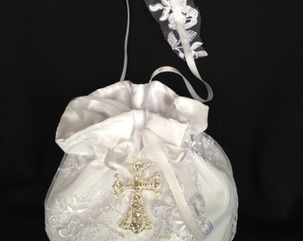 Lace Wedding Bag, White or Ivory  Lace Bridal Purse, Bridal Money Bag,  Clear Crystal Rhinestones. Religious Theme Purse, Communion Bag