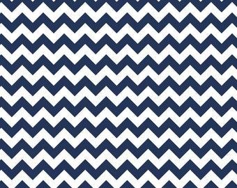 "Chevron Navy Small - End Of Bolt - 1 Yard 6"" - Riley Blake Chevron Cotton Fabric"