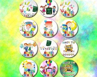 Images digitales pour cabochon rond, Ecole, REntrée scolaire, enfant, 25mm, cabochon en verre, cabochon epoxy, capsule, pendentif, clipart