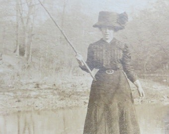 Original 1900's Woman With A Big Hat Holds Fishing Pole Real Photo Postcard RPPC - Free Shipping