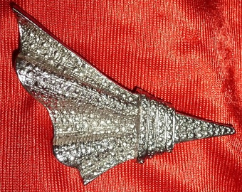Fine Mid Century Modern Abstract Silver Tone Pin Brooch - Free Shipping
