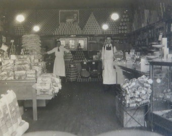 Vintage 1920's Neighborhood Grocery Store Snapshot Photo - Free Shipping