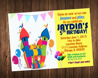 Bounce House Invitation - Bounce House Birthday Invitations - Kid's Outdoor / Indoor Playground Party Printable Invite