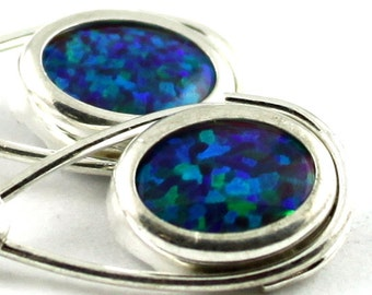 Created Blue/Green Opal, 925 Sterling Silver Leverback Earrings, SE008