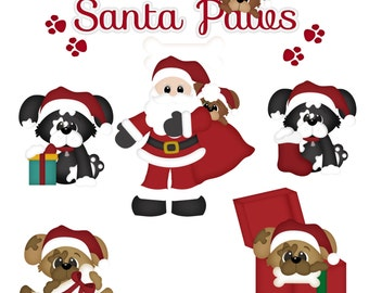 DIGITAL SCRAPBOOKING CLIPART - Santa Paws